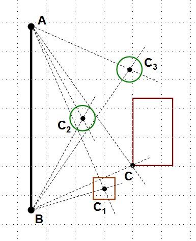Рисунок 3. Нанесение на карту объектов, привязанных к базовому отрезку АВ.